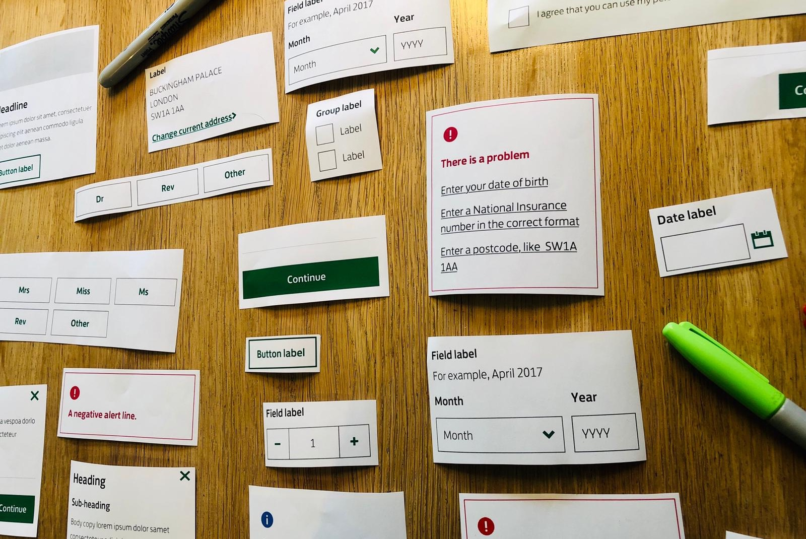 Paper print outs of components from a Lloyds website